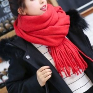 NWOT 100% Cashmere Red Blanket Scarf Wrap